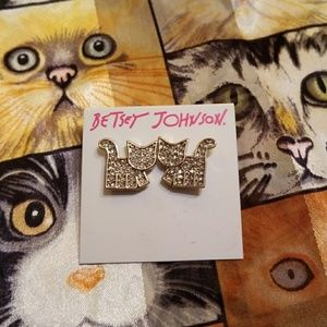 💎🐱  BETSEY JOHNSON RHINESTONE💎 CAT🐱 EARRINGS